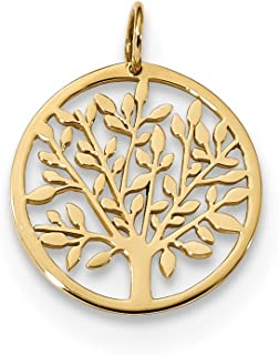 14k Yellow Gold Round Tree Pendant Charm Necklace Inspiration Outdoor Nature Fine Jewelry For Women