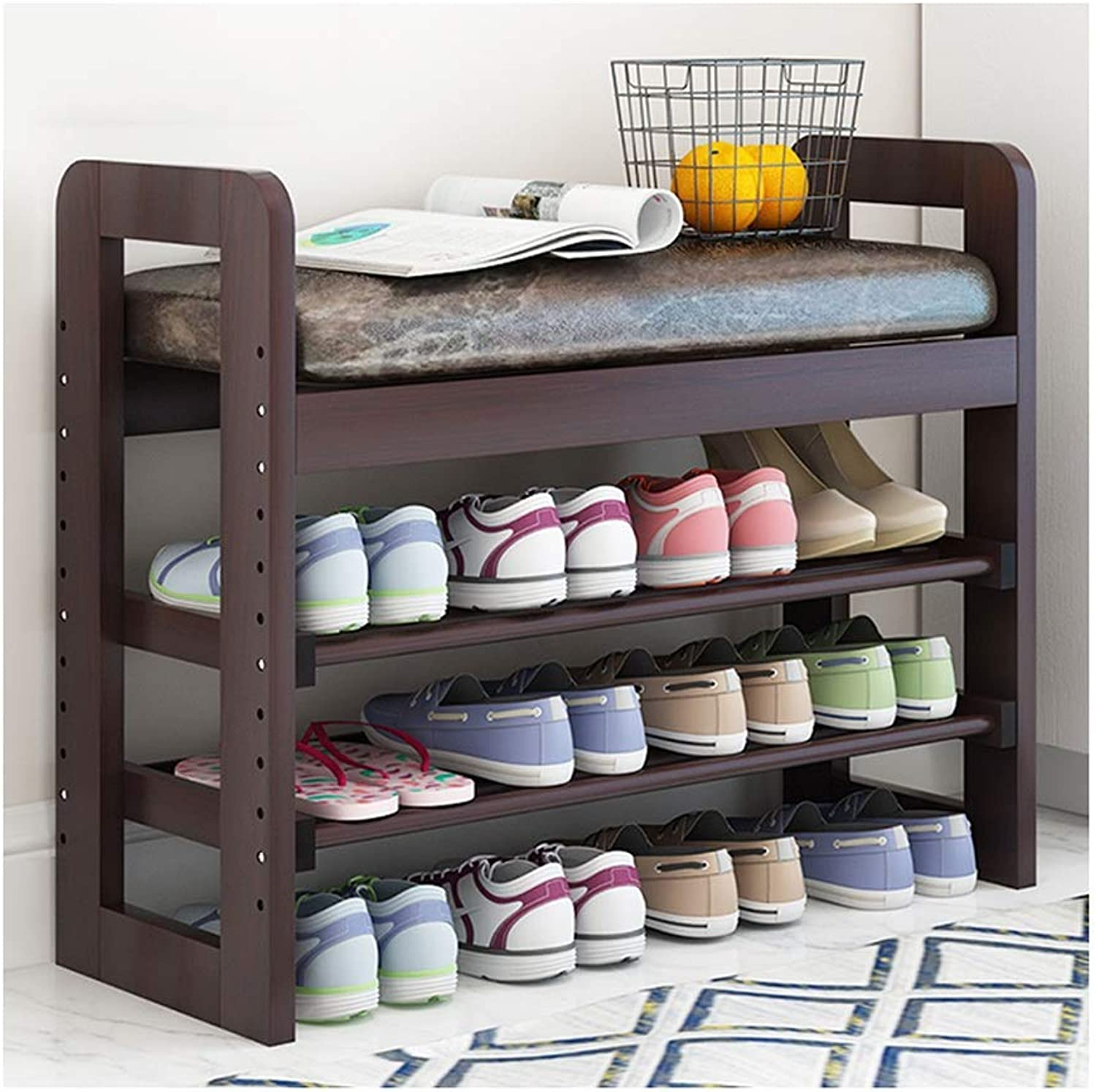 CAIJUN Footstool shoes Shelf Rack Solid Wood PU Cushion Height Adjustable Waterproof Assembly, 3 colors, 2 Sizes (color   C, Size   71x30x60cm)