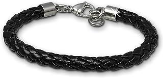 SilberDream LAP008S - Bracciale in pelle intrecciata nera in acciaio inox, adatto per polsi fino a 20 cm o 22 cm, per uomi...