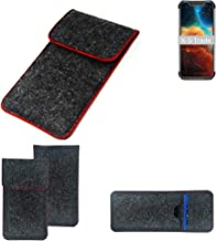 K-S-Trade/® Funda Protectora De Fieltro para Blackview BV9600 Estuche Bolsa Bolsillo Carcasa Cubierta Gris Oscuro Borde Rojo