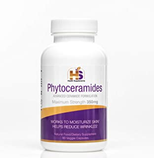 Phytoceramides Anti Aging Supplements - Natural Vegan Capsules - Extreme Hydration, Repairs and Moisturises Your Hair, Nails and Skin. Vitamins for Women and Men - 350 MG, 8X More Than Other Brands