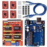 Longruner CNC Shield Tarjeta de Expansión v3.0 + Junta + A4988 Controlador de Motor Paso a Paso with ArduinoIDE Kits LK75