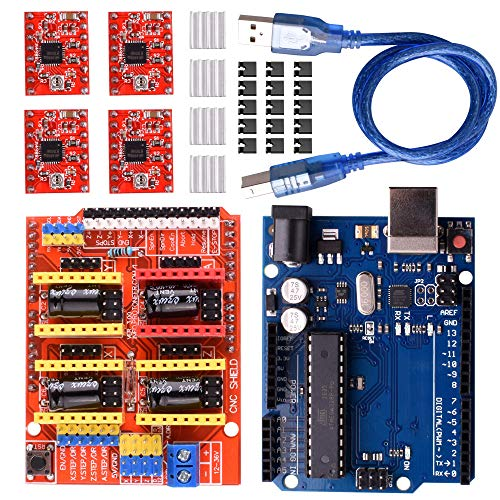 Longruner CNC Shield Expansion Board V3.0 + Board + A4988 Stepper Motor Driver With Heatsink with ArduinoIDE Kits LK75