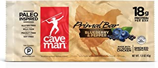Caveman Foods Paleo Primal Bar, Chicken with Blueberry Pepper, 1.5 Ounce Bars (12 Count Box)