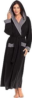 Women's Warm Fleece Robe with Hood, Long Plush Contrast Sherpa Bathrobe