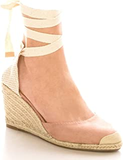 Olivia K Womens Lace Up Platform Wedge Sandals - Slingback Mid Heel - Casual, Classic, Comportable