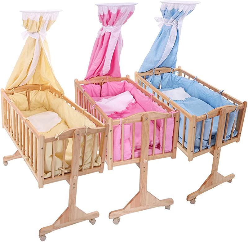 Wood Newborn Baby Toddler Bed Cradle Nursery Furniture Safety Blue