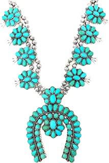 Squash Blossom Turquoise Statement Necklace and Earrings Set Western Naja Pendant (Turquoise)