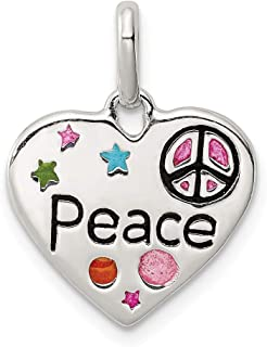 925 Sterling Silver Enamel Heart Peace Pendant Charm Necklace Fine Jewelry Gifts For Women For Her