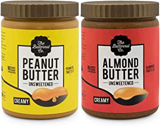 The Butternut Co. 1 Kg Creamy Unsweetened Peanut Butter & 1 Kg Creamy Unsweetened Almond Butter - 2 Kg Combo Value Pack