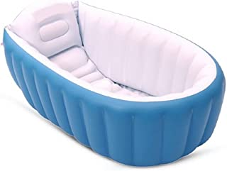 Ecity Large Capacity Baby Inflatable BathTub Plastic Mini Air Swimming Pool ToddlerThick Foldable Shower Basin, Blue (Blue)