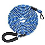 NTR Heavy Duty Dog Leash,15FT Long Rope Leash for Dog Training with Swivel Lockable Hook,Reflective Threads and Comfortable Handle,Dog Lead for Walking,Hunting,Camping for Medium and Large Dog