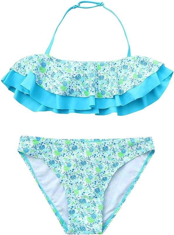 HimTak Girls Swimwear Kids Floral Print Ruffles Halter Two Piece Swimsuit Summer Beachwear
