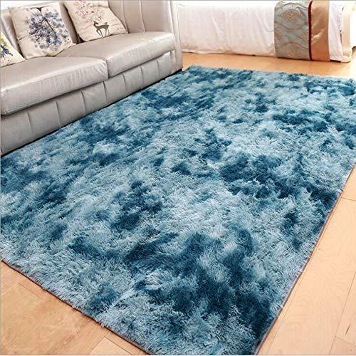 ZHOUZEKAI Moqueta Rectangular Alfombra Antideslizante para el hogar, Adecuado para la decoración de Salas de Estar y dormitorios,alfombras Decorativas (Azul Marino, 80_x_120_cm)
