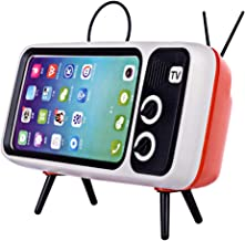 Goshfun PTH800 Retro TV Bluetooth Wireless Speaker Phone Holder, Table Cell Phone Accessories, Desktop Mobile Phone Stand for Phones with 4.7-5.5 inch Screen, Orange
