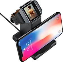 GOSETH Compatible with Fitbit Ionic Charger, Charging Dock Station Holder for Fitbit Ionic SmartWatch with Stand for Phone(Not Work with The Protective Case)