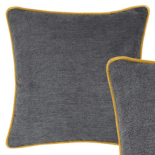 Cushoo Charcoal Grey Cushion Cover with Mustard Yellow Edge Piping in Chenille Like Fabric | Luxurious Square Decorative Scatter Pillow Case | 45 x 45cm | 18 x 18in