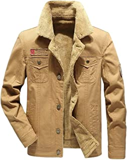 Mens Plus Velvet Military Thickened Outwear Plus Size Denim Jacket