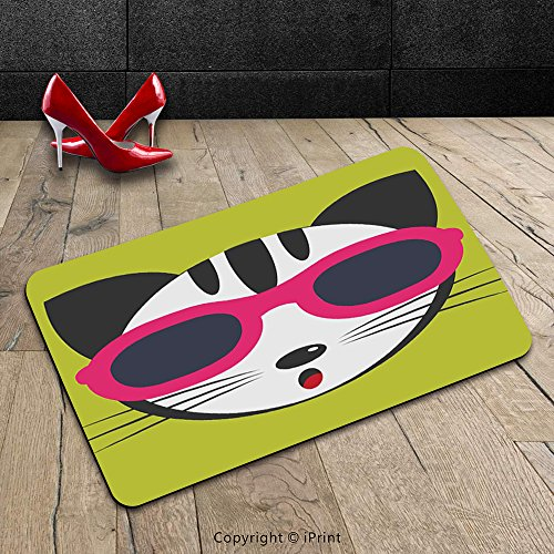 Custom Machine-washable Door Mat Animal Decor Cute Kitten Wearing Pink Sun Glasses Cool Modern Hipster Cat Fashion Fun Pets Art Print Multi Indoor/Outdoor Doormat Mat Rug Carpet