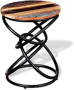 Tavolo HAIZHEN Tavolino da Salotto in Legno massello Realizzato a Mano in Stile retrò Tavolino da caffè con Base in Ferro battuto in Stile Industriale, 40 * 50 cm Tavolini da appoggio