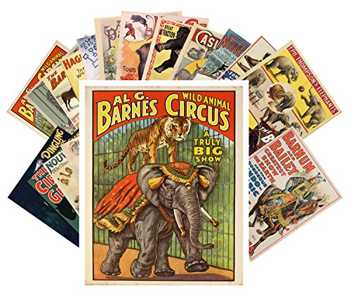 24 Postkarten Vintage Circus Animals and Horses Vintage Posters