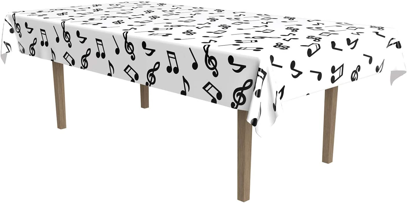 Amazon Com Musical Notes Tablecover Party Accessory 1 Count 1 Pkg Kitchen Dining