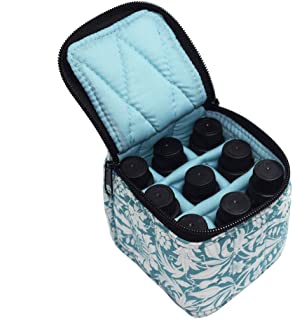 9 Bottles Essential Oil Carrying Case Shockproof Essential Oils Organizer Travel Bag Suitable for 5ml,10ml,15ml Bottles or 10ml Roller Bottles with Portable Handle and Double Zipper (Aqua Green)