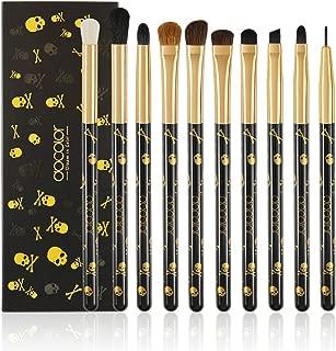 Eye Makeup Brushes Set - Docolor Eyeshadow Eyeliner Blending Crease Kit - Best Choice 10 Essential Makeup Brushes - Skull Printed Goth Eyeshadow Eyebrow Blending Brushes Set