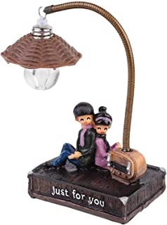 "Bedroom Couple Night Light, DELFINO""JUST FOR YOU"" Desktop Light Ornament, Creative Pastoral Tree Stump Resin Decoration Cu..."