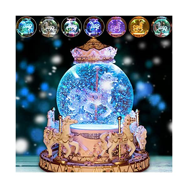 Luxury Carousel Music Box Crystal Ball Music Box with Castle in the Sky Tune Creative Home Decor Ornament Gifts Perfect… 6