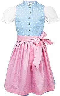 Country Maddox Maddox Kinder Dirndl Almtal mit Stehkragen - Hellblau Rosa - Wunderschönes Mädchen Trachten Kleid mit Schürze und Bluse für Oktoberfest