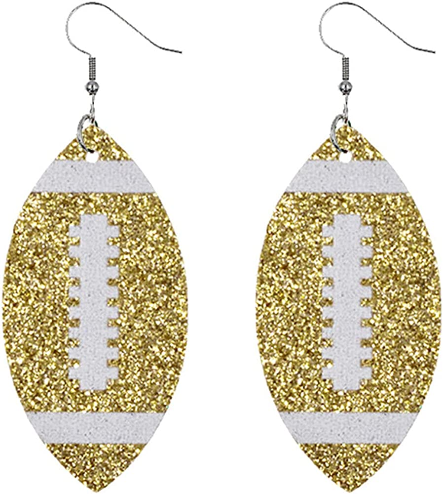 Glitter Faux Leather Football Drop Dangle Earrings for Women Girls Gift Accessories Football Jewelry for Moms