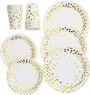 "30pcs 9oz Paper Cups + 30pcs 7"" Plates + 30pcs 9"" Plates Set of 90pcs Disposable Drinkware & Dishware with Golden Polka Do..."