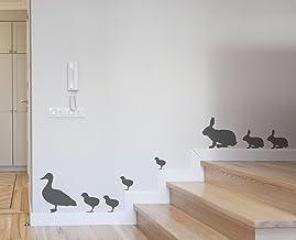 Muursticker konijnen en eenden Deco Stickers Wand,, PVC, grijs, 60 x 0,1 x 30 cm
