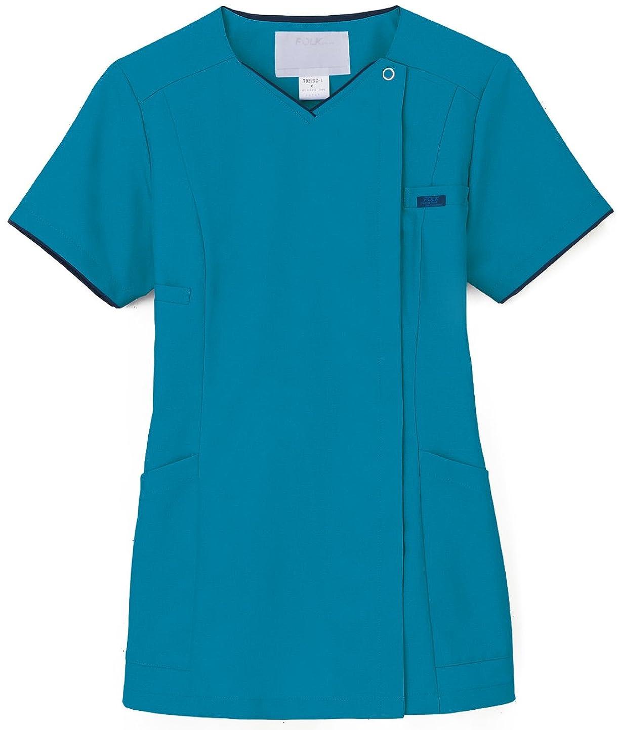 着実にダイヤモンドフルーティー白衣 スクラブ 女性用 手術衣 オペ着 フォーク(FOLK) 7022SC レディスジップスクラブ LL 11.ターコイズ