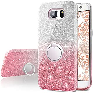 Galaxy S6 Edge Case,Silverback Girls Bling Glitter Sparkle Cute Phone Case with 360 Rotating Ring Stand, Soft TPU Outer Cover + Hard PC Inner Shell Skin for Samsung Galaxy S6 Edge -Pink