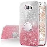 Miss Arts Funda Galaxy S7 Edge, Carcasa Brillante Brillo con Soporte Giratorio de 360 Grados, Cubierta Exterior de TPU Suave + armazón Interior de PC Duro para Samsung Galaxy S7 Edge -Pink