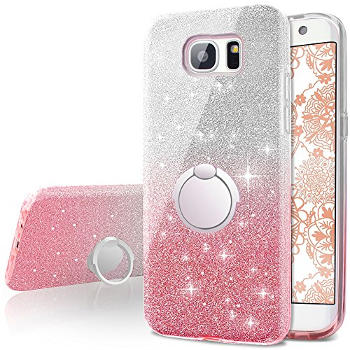 Miss Arts Galaxy S7 Edge Hülle, Mädchen Glitzern hülle mit 360 Grad drehendem Ringständer, weiche Außenhülle aus TPU + Harte Innenschale für Samsung Galaxy S7 Edge -Pink