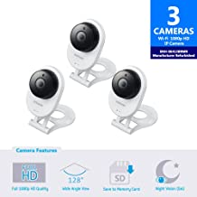 Samsung SNH-E6413BMR SmartCam HD WiFi IP Camera with 16GB microSD Card, Bundle Triple Pack (Renewed)