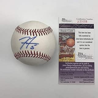 Autographed/Signed Freddie Freeman Rawlings Official Major League Baseball ROML JSA COA Auto