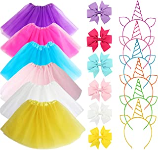 18Pcs Girls Ballet Tutu Skirts Multicolor Hair Bands Ties Unicorn Headbands Birthday Party Favor Gifts Princess Dress Up Costume 3-Layer Ballet Dance Tutus Skirts for Girls