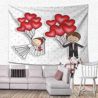 SONGDAYONE Simple Tapestry Wedding Funny Cute Cartoon Style Newlyweds with Heart Shaped Balloons Dots Happiness Decorative Bedroom Red White Black W70 x L59