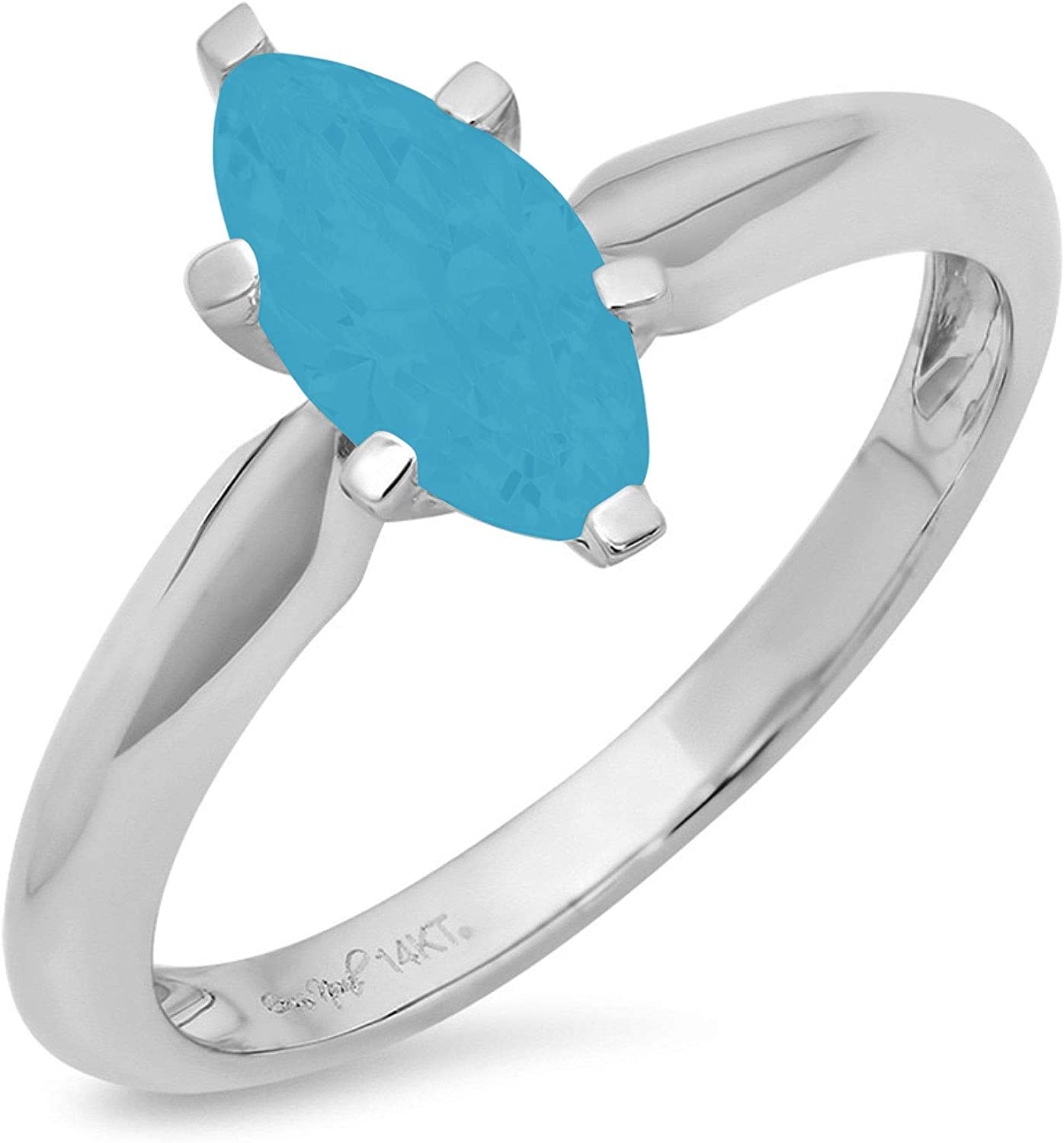 1.4ct Brilliant Marquise Cut Solitaire Flawless Simulated Cubic Zirconia Blue Turquoise Ideal 6-Prong Engagement Wedding Bridal Promise Anniversary Designer Ring Solid 14k White Gold for Women