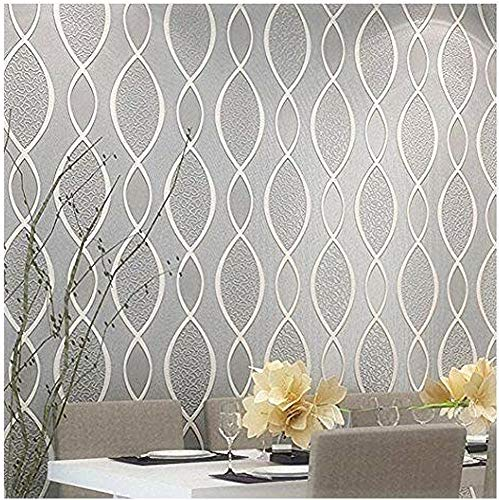 Blooming Wall: Extra-thick Non-woven Modern Leaf Flow Embossed Textured Wallpaper for Livingroom Bedroom, 20.8 In32.8 Ft=57 Sq.ft, Gray&beige