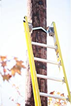 Werner D7128-2 28' Fiberglass Flat D-Rung Linesmans Extension Ladder w/Padded V-Rung and Cable Hooks Attached - 375lb Rated