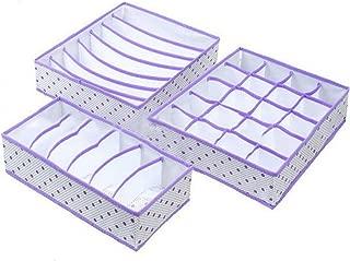 3PCS Foldable Underwear Organizer Bra Tie Scarf Clothes Storage Box Container Wardrobe Closet Drawer Dividers Case Purple