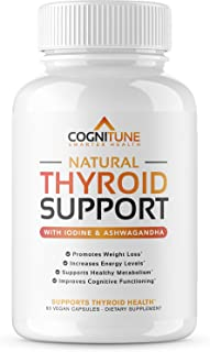 Natural Thyroid Support Complex Supplement with Iodine - Premium Energy, Metabolism, Focus, Weight Loss - Vegetarian Formula with Vitamin B 12, Magnesium, Selenium, Ashwagandha - 60 Capsules