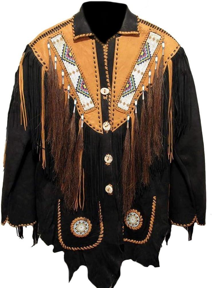 Classyak Men's Western Cowboy Beaded Real & Suede Leather Jacket