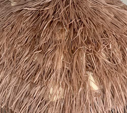 Object, bastschirm, braun = Marrone, 180/200cm, Raffia Bast, Sonnenschirm, Hawaii - Style, 8 Streben + knickgelenk, Sonnenschirm mit Fransen, Bast