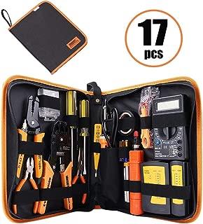 Kits de herramientas informáticas: herramientas de mantenimiento de cables de red profesionales 17 en 1: conectores RJ45/RJ11/8P8C, probador de cables LAN/Cat5e/Cat6, soldador, alicates de pelado